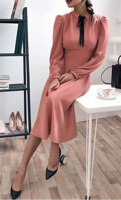 Vintage Dresses very elegant outfit idea / blush chiffon dress and black heels - Ready to enjoy the trends of In this article, we will tell you what to wear overall hats, midi skirts, and mom jeans.
