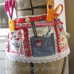 This is kind of my Apron Tool belt, or cleaning belt idea.  Would work for gardening too