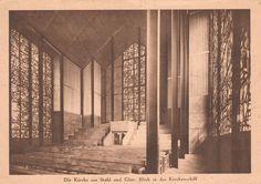 Bartning, Otto - Die Stahlkirche auf der Pressa, blick in das kirchenschiff, Köln (The Steel Church at the Pressa Exhibition, view of the nave, Cologne), 1927-28 (Photo: Hugo Schmölz)