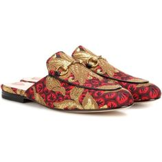 Gucci Princetown Jacquard Slippers (2.235 BRL) ❤ liked on Polyvore featuring shoes, slippers and multicoloured