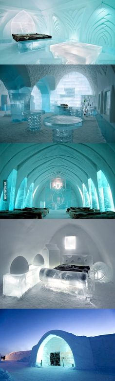In Sweden there is a hotel completely made out of ice and snow.