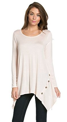 My Space Clothing Women's Scoop Neck Long sleeve Handkerchief Button Detail Tunic - Made in USA (Small, Blush) My Space Clothing http://www.amazon.com/dp/B01BO7OQ34/ref=cm_sw_r_pi_dp_MxIVwb17927X8