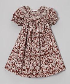 2c3a1d310ef2 Smockadot Kids Brown Floral Paisley Bishop Dress - Infant