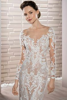 39fc39709d67 Demetrios Wedding Dress - Style 717 : Richly embroidered luxurious lace  adorns this stunning fit n flare gown with sweetheart neckline, long  sleeves, ...