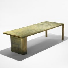 Philip and Kelvin LaVerne, Acid-Etched and Patinated Bronze over Pewter Coffee Table, c1965.