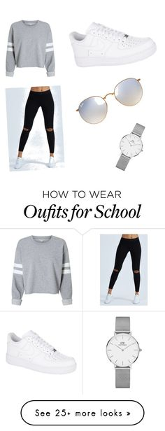 """School Fall Outfit Comfy"" by hailemi on Polyvore featuring Joah Brown, NIKE, Ray-Ban and Daniel Wellington"
