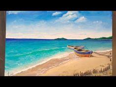 Time Lapse: Tropical Shore Beach Scene | Acrylic Painting Tutorial - YouTube #OilPaintingOcean