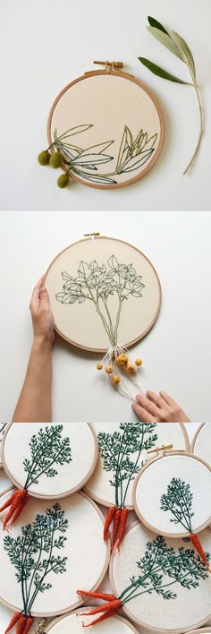 The unusual volume embroidered vegetables and root crops — HandMade Embroidery Floss Projects, Embroidery Hoop Art, Hand Embroidery Designs, Ribbon Embroidery, Cross Stitch Embroidery, Embroidery Patterns, Hand Embroidery Dress, Craft Fairs, Handicraft