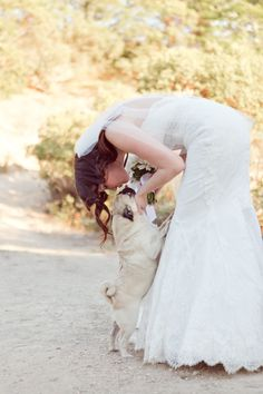 Aww what a special moment between the bride and her pup!  #WWFallBook #realwedding {Heather Scharf Photography}