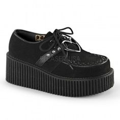 Heart Ring Vegan Suede Black Creeper for Women - New at ShoeOodles.com Price: $64.95  Womans creeper shoe is classic loafer styling with lace up front and a vertical ridged 3 inch heel with 2 inch platform. Interwoven apron and piping detail with studded straps and heart shaped o-ring.  Eco-friendly all man made materials with padded insole and non-skid sole.  #gothic #fashion #steampunk