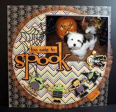 #papercraft #scrapbook #layout. Mini Monsters Halloween Layout