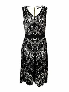 a970aee6a9 Ellen Tracy Womens Sleeveless VNeck Printed Fit and Flare Dress BlackIvory  6    You can