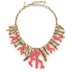 Oscar de la Renta Coral Resin & Crystal Bib Necklace ($1,035) ❤ liked on Polyvore featuring jewelry, necklaces, apparel & accessories, persimmon, oscar de la renta necklace, resin jewelry, crystal bib necklace, gold tone jewelry and bib necklace