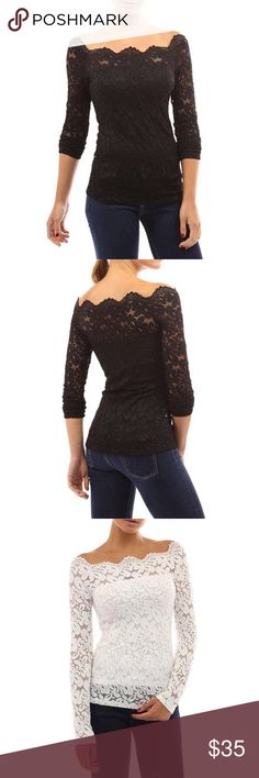 The lyndsay Lohan lace top Sexy Floral Lace Pattern, Long Sleeve, Crochet & Stretch Size Type: Regular Size: S, M, L Color Black, White ( please let me know the color you want when ordering.              True to size Tops Blouses