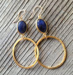 Bezel Set Lapis Gemstone Gold Vermeil Hoop  EG01 by joydravecky, $75.00