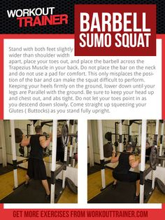 Exercise Spotlight: Barbell Sumo Squat- Detailed exercise instruction included with every custom workout program on WorkoutTrainer.com