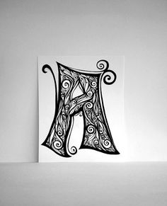 hand drawn letter a in black and white swirls by sometimesiswirl 2000