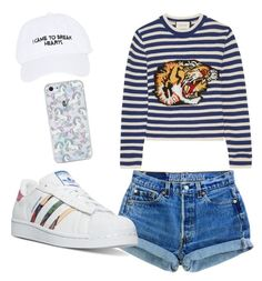 Untitled #6 by adekoooo on Polyvore featuring polyvore fashion style Gucci adidas Nasaseasons clothing