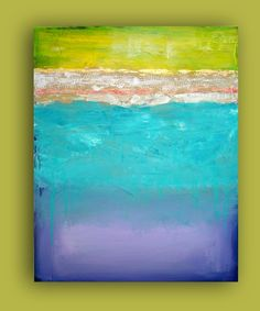 """Turquoise and Purple Original Contemporary Fine Art Abstract Textured Painting Titled: Crystal Blue 24x30x1.5"""" by Ora Birenbaum"""