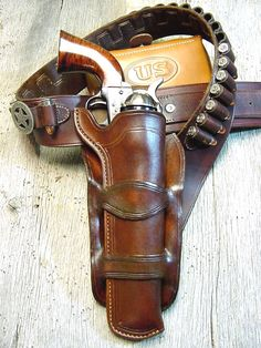 Leather Revolver Holster Would have to be at my knee, and then I'd shoot myself in the foot I'm sure. Cowboy Holsters, Western Holsters, Rifles, Pistol Holster, Leather Holster, 1911 Pistol, Cowboy Action Shooting, The Lone Ranger, Western Cowboy