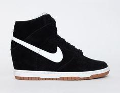 on sale 05565 fa16b Zapatillas Nike Dunk Sky High Suede Mujer Goma Negro Blanco Sneaker Heels,  Wedge Sneakers,