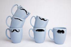 Mustache Coffee Cups