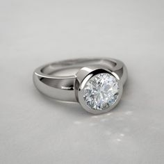 Bague Diamant – Tendance : Bezel Set Round Diamond Engagement Ring in White Gold… Gold Diamond Wedding Band, Round Diamond Engagement Rings, Diamond Bands, Diamond Jewelry, Jewelry Rings, Jewellery Box, Jewellery Shops, Tiffany Jewellery, Jewelry Stores