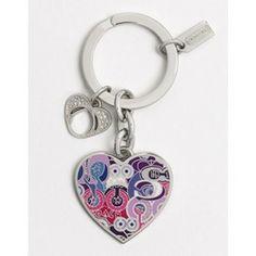 Coach Poppy Graffiti Heart Keychain $54