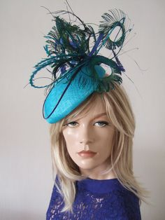 Beret Headpiece in Turquoise with Peacock Pheasant and Ostrich Curled Feathers £95.00 from www.dress-2-impress.com called Marissa