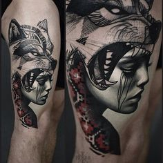 indian girl wolf tattoo - Google-Suche