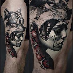wolf girl tattoo - Google zoeken