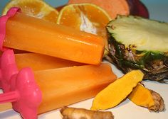 INGREDIENTS: 2 oranges ¼ pineapple 1 in cm) piece of fresh turmeric 1 carrot ¼ sweet potato (optional) Vegetable Smoothies, Healthy Smoothies, Healthy Drinks, Healthy Snacks, Healthy Eating, Healthy Popsicles, Yogurt Smoothies, Clean Eating, Healthy Blender Recipes