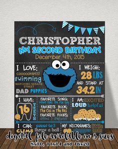 Cookie Monster Chalkboard Sign Cookie por AGMPrintableDesigns Monster Birthday Cakes, Monster 1st Birthdays, Cookie Monster Party, Monster Birthday Parties, 2nd Birthday Parties, Birthday Balloons, First Birthdays, Birthday Themes For Boys, Baby 1st Birthday