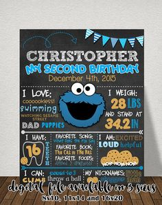 Cookie Monster Chalkboard Sign Cookie por AGMPrintableDesigns