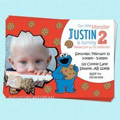 Cookie Monster Birthday Invitation Sesame Street Inspired Birthday Printable Party. $14.00, via Etsy.