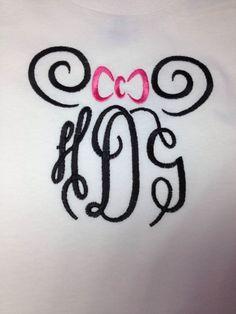 Disney Minnie Head Swirl Monogram  Adult by CreativeLifeboutique
