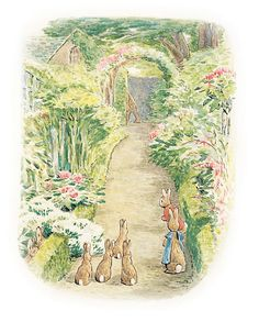 "'The Tale of The Flopsy Bunnies', 1909 -- Beatrix Potter. ""They watched him go into his house."""