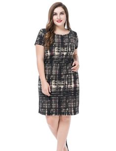 43d7a6a9787 Chicwe Women s Plus Size Printed Dress Round Neck Short Sleeves US16-26 Casual  Dresses