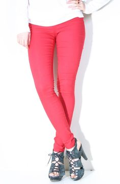 Pull-on Skinny Jeggings-RED - BOTTOMS - SHOP GREY-Modern Classic Chic