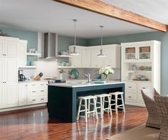 Our Alphine white Cabinets with Cadet blue island - what!!!!
