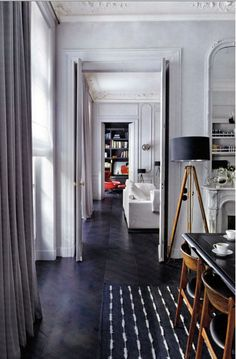 Any good house has an enfilade plan situation. Dark Wood Floors, Dark Flooring, Wood Flooring, Dark Hardwood, Hardwood Floor, Sweet Home, Bright Decor, Decoration Design, Lounges