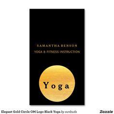 Elegant Gold Circle OM Logo Black Yoga Double-Sided Standard Business Cards (Pack Of 100)