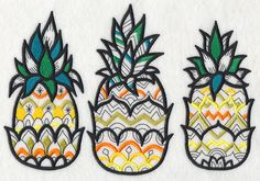 Pineapple Trio (Blackwork)