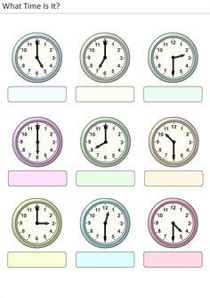 Actividades para niños preescolar, primaria e inicial. Plantillas con relojes analogicos para aprender la hora diciendo que hora es. Que hora es. 32