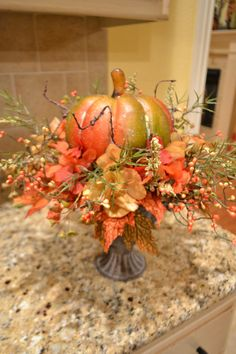 Inspiration... Metal Urn Pumpkin Arrangement by kristenscreations on Etsy