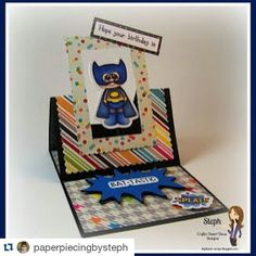 Steph's card showcasing Fancy Frame Dies and Calling All Superheroes stamps. @paperpiecingbysteph #cddstamps #cdddies