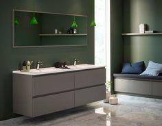 Elle Decor, Double Vanity, Kitchen Design, Bathroom, Storage, Interior, House, Furniture, Green