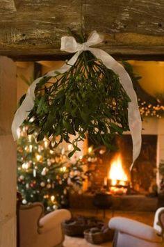 Mistletoe and cozy fire.