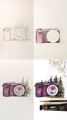 Mini tutorial with step by step process photos of a purple watercolor camera illustration aquarell, Watercolor Tatto, Watercolor Portraits, Watercolor Flowers, Watercolor Paintings, Watercolor Artists, Watercolor Landscape, Camera Illustration, Portrait Illustration, Watercolor Illustration