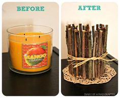 #DIY Twig Candleholder : DIY Wood Crafts Recycle